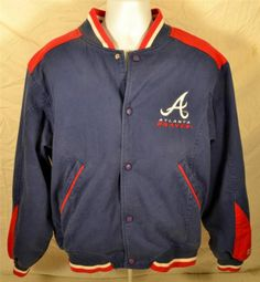 Awesome Atlanta Braves Men's Large 100% Cotton Stitched Red White Blue Jacket #Mirage #AtlantaBraves