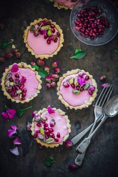 Rosewater infused tartlets topped with fresh pomegranates and salted pistachios. The perfect valentine's day treat that is sweet and salty. Creative Desserts, Beautiful Desserts, Fancy Desserts, No Cook Desserts, Delicious Desserts, Dessert Recipes, Yummy Food, Tart Recipes, Baking Recipes