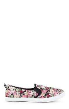 Deb Shops All Over Floral Print Slip On Shoe with White Sole
