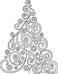 Christmas tree black outline Wall Mural • Pixers® • We