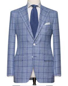 Medium Blue With A Dark Blue Windowpane. Cloth Weight: 290 gram Composition: 71% Wool, 16% Silk and 13% Linen.