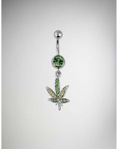 Pot Leaf Belly Button Ring