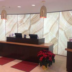Wow. Check out this LightPlane installation with ViviStone Cream Onyx glass at  the Burlington MA Marriott.