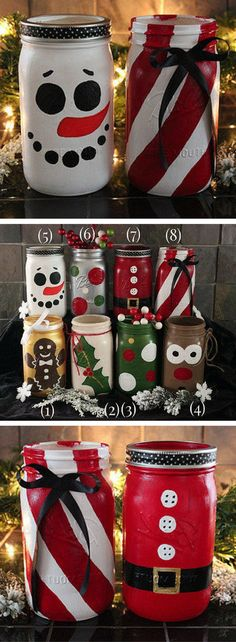 Hand painted Christmas mason jars! Holiday Mason Jars - Snowman Jar - Santa Jar - Reindeer Jar - Gingerbread Man Jar - Santa Clause decor, Christmas decor, Rustic Christmas, Farmhouse Christmas gift #ad