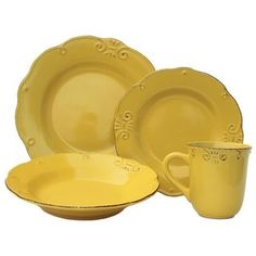 Shop for Melange Antique Edge Sunflower Stoneware Dinner Set 32-piece Place Setting and more for everyday discount prices at Overstock.com - Your Online Kitchen