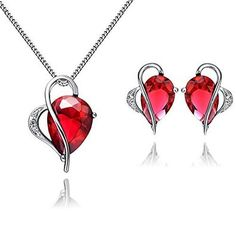 FLORAY Ladies Red Drop Ruby Pendant Necklace and Stud Earring Jewellery Set,Sterling Silver Chain