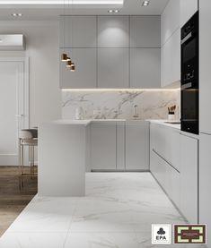 Kitchen Bar Design, Luxury Kitchen Design, Home Decor Kitchen, Kitchen Styling, Interior Design Kitchen, Small Apartment Design, Apartment Interior Design, Modern Kitchen Interiors, Modern White Kitchens