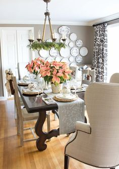 2016 Christmas House Tour (Part 12 Days of Holiday Homes Christmas home tour - dining room decorated with pink poinsettias and gold and silver ornaments and decorative trees Dining Room Paint Colors, Dining Room Walls, Dining Room Design, Room Colors, High Back Dining Chairs, Dining Table, Dining Decor, Rooms Ideas, Classic Dining Room