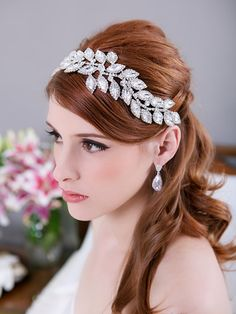 Crystal Leaves Bridal Headpiece, Rhinestone Headband, Crystal Bridal Hair Comb, Wedding Headband, Bridal Hair Accessories - HAYLEY DESIGN on Etsy, $92.00