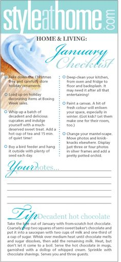 Home & living checklist: January - Style At Home