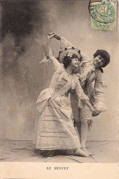 Vintage French Postcard - Cute Dancing Couple - The Graphics Fairy
