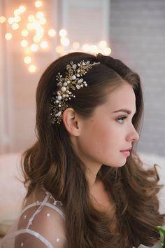 Bridal HeadpieceBridal Hair Vine Bridal Hair Comb Gold Hair