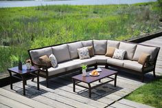 This 3 piece outdoor sectional makes entertaining friends and family fun again! Order this cast aluminum outdoor patio sectional for your backyard set up online here. Outdoor Sofa, Outdoor Living, Outdoor Furniture, Outdoor Decor, Outdoor Sectionals, Cast Aluminum Patio Furniture, Deep Seated Sofa, Sectional Patio Furniture, Patio Cushions