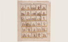 Dertig ambachten: Bovenaan de prent staat de tekst: 'Geeft verscheidenheid genoegen, dan wordt hier uw smaak gestreeld. In een dertigtal van prentjes, ziet ge U steeds wat nieuws verbeeld.' Eronder staan dertig plaatjes met elk een kort onderschrift. Eén van de tekeningen stelt Sint Nicolaas te paard voor. Onder deze afbeelding staat de tekst: 'Ik ben St-Nicolaas'. ca. 1797 - 1826