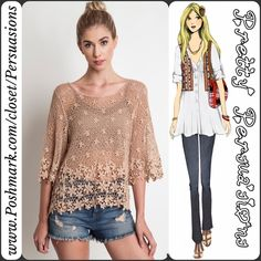 "NWT Mocha Latté Floral Lace Crochet Tunic Top NWT Mocha Latté Floral Lace Crochet Tunic Top  Available in sizes S/M & M/L Measurements taken from a size S/M Length: 22""/25"" (front/back length) Bust: 38"" Waist: 36"" Hips: 40""  Features  • floral crochet design • relaxed, easy fit  • pretty mocha color • has stretch   Cotton Blend  Bundle discounts available  No pp or trades  Item # 1o1-5•11-0390 Pretty Persuasions Tops"