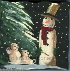 Primitive Snowmen Painting on Wood Christmas Sledding Block Wall Decor Flakes