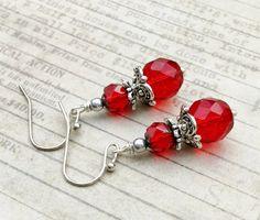 Red Earrings Ruby Earrings Bridal Earrings Silver by SmockandStone