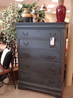 Graphite Chest of drawers with charcoal chalk board paint!