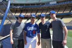 Los Angeles Kings Tanner Pearson, Tyler Toffoli and Martin Jones with Los Angeles Dodgers Manager Don Mattingly