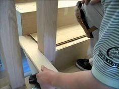 How to Install Hardwood Flooring on Stairs: One Side Open Tread Staircase Installation - YouTube