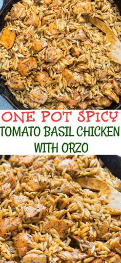 This One Pot Spicy Tomato Basil Chicken With Orzo is spicy, creamy and loaded with flavor. A quick and easy dinner that everyone will love. Easy Dinner Recipes, Pasta Recipes, Chicken Recipes, Easy Meals, Recipes With Orzo Rice, Weeknight Meals, Dinner Ideas, Chicken Meals, Turkey Recipes
