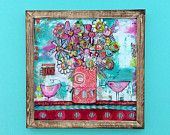 Flower painting with birds, 20 x 20 with handmade wood frame, whimsical, girls room, turquoise and pinks