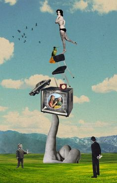Sammy Slabbinck cool retro kitsch surrealist collage paper art work inspired by magritte perhaps