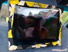 an iPad Headrest Holder: now your kids can watch movies in the backseat, and there will be no fighting over who gets to hold it! How to:made withcotton fabric, ⅔ yd⅓ yd iron-on fusible interfacingVelcro Velstretch strap1 Cut a piece of fabric that measures 11.25 inches wide, and 16.75 inches tall. Cut a piece of …