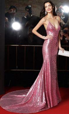Spaghetti Straps Prom Dresses,Sexy Prom Dress, Rose