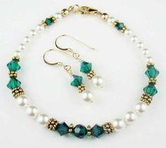 Damali 14K Gold Crystal Bracelet w/ Earrings in May Emerald Swarovski Crystal Birthstones - LARGE 8 In. Damali. $89.95