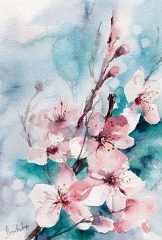 Almond Blossoms Painting, Original Watercolor Painting, Modern Painting Art, Nature, Floral, Pink Turqiouse