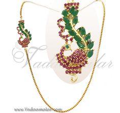 Peacock Design Side pendant Mugappu Ruby and Emerald Stones
