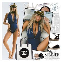 """Ezili Swimwear"" by gaby-mil ❤ liked on Polyvore featuring Aquazzura, Forever 21, Chanel, Bobbi Brown Cosmetics, Summer, bikini, swimsuit and eziliswimwear"