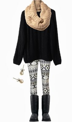 Fall Outfit With Oversized Knit,Cozy Scarf and Leggings