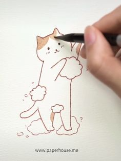 How to paint this cute kitty by using our watercolor beginner set👉Shop the watercolor set at Art Drawings For Kids, Pencil Art Drawings, Kawaii Drawings, Easy Drawings, Drawing Sketches, Watercolor Beginner, Watercolor Cat, Bullet Journal Art, Pen Art