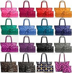 061527c92462 Coach signature nylon packable weekender bag duffle travel tote carry on  f77321