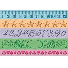 Brand New --  Cuttlebug MEASURE BY MEASURE - SET OF 5 Embossing Borders
