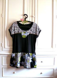 Tunique T-shirt Recyclé Femme Taille 46 Tissu noir, bleu ciel, blanc et vert : T-Shirt, debardeurs par mon-armoire-jolie
