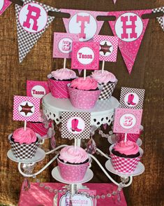 DIY Cowgirl  Printable Party Circles 2in Cupcake Toppers hot pink pink brown bandana gingham boots, $10.00