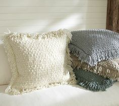 Metallic Knit Fringed Pillow Cover #potterybarn $39.50 I just saw these in the store the other day and they were so soft and cozy. I cant stop thinking about them! MUST BUY. (with matching throw)