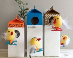 Interesting ideas how to make bird houses to backyard : How To Make Bird Houses From Milk Cartons. Ow to make bird houses from milk cartons. bird houses,decorative houses,how to make houses,small houses,unique houses Kids Crafts, Recycled Crafts Kids, Easy Crafts, Craft Projects, Milk Carton Crafts, Boredom Busters For Kids, Business For Kids, Clever Diy, Fun Diy