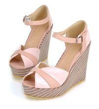 2014 New Arrival Pink Black Fashion Casual Buckle High Heel Platform Summer Wedges Women Girls Sandals L587