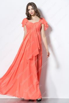 Casual front cascaded long chiffon bridesmaid dress features flutter cap sleeves, hand ruched details embellished, long chiffon skirt flows with front cascaded, empire waist completes the design.