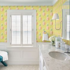 This pineapple wallpaper is bursting with color! The sunshine yellow print is topped with pine and green detailing. Pineapples measure ten inches tall.