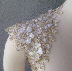 Wedding Bridal Ivory and Gold Lace Keyhole Back Bolero Shrug