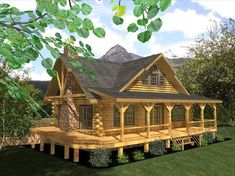 log cabin home with wrap-around porch. Marley is going to build me one.