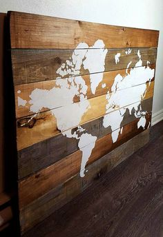 World Map on Barnwood Map Mondiale sur Bois by AriesDenHomeDecor