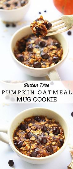 Gluten Free Pumpkin Chocolate Chip Oatmeal Mug Cookie - this amazing recipe for a single cookie serving is made in a mug in the microwave. A yummy dessert or snack that is gluten free, vegan and uses no refined sugar.