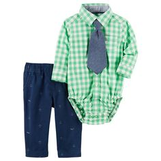 Baby Boy Carter's Gingham Button-Down Bodysuit, Chambray Tie & Anchor Pants Set, Size: 18 Months, Green