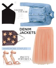 """Daytime couture"" by pamela-802 ❤ liked on Polyvore featuring Needle & Thread, STELLA McCARTNEY, Acne Studios, Gianvito Rossi, BCBGMAXAZRIA, denimjackets and WardrobeStaples"